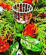 Decoración con flores para la navidad