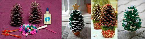 C mo hacer mini rboles de navidad f cilmente - Decorar pinas naturales ...