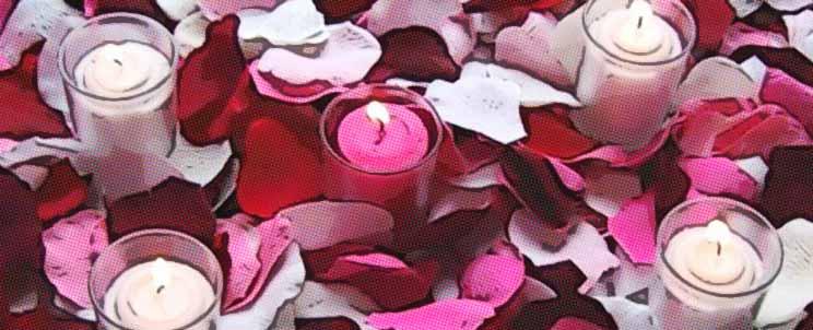 ideas de decoración romántica con velas