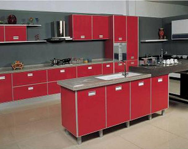 muebles cocina pvc rojos