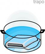 segundo paso esquema cacerola trapo para esterilizar envases vitreos